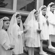 hansel-mieth-dionne-quintuplets-posing-in-their-confirmation-outfits-for-their-first-holy-communion
